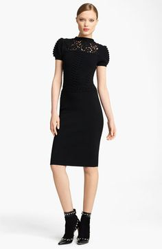 Valentino Textured Knit Dress. // The peek of lace as a built in collar and the sleeves give the little black dress a facelift.