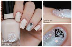 Nude and glitter silver diamond nail art