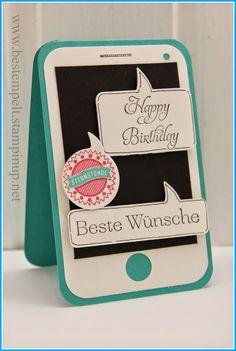 Stampin Up! Sprechblasen, Smartphone-Card, Birthday Teen, Sprüchefeuerwerk