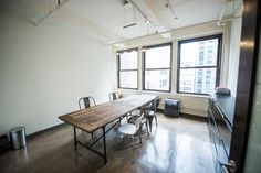 Freshly renovated NYC-inspired photo and film studio with industrial chairs, stoles and white leather couch. Industrial Chair, Film Studio, Business Events, First Home, White Leather, Chairs, Dining Table, Nyc, Couch