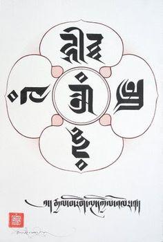 TIBETAN SCRIPTS: The Five Wisdom Buddhas.. Om, center, Virochana Buddha. 2. Hum, East, Akshobya Buddha. 3. Tram, south, Ratnasambhava Buddha. 4. Hri, West, Amitabha Buddha. 5. Ah, North, Amoghasiddhi Buddha.