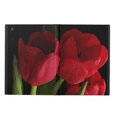 This striking iPad Air 2 case features a bouquet of scarlet red tulips and green leaves set on a pure black background. What a lovely gift for gardeners!