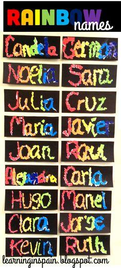 rainbow names craft in an ESL classroom