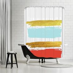 Features:  -100% Original artwork design.  -12 Holes.  -Shower curtain rod or liner not included.  -Made in the USA.  -Ikonolexi collection.  Product Type: -Shower curtain.  Color: -Gold/Blue/Red.  Ma