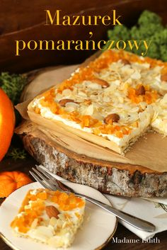 mazurek pomarańczowy No Bake Desserts, Delicious Desserts, Raw Food Recipes, Cooking Recipes, My Favorite Food, Favorite Recipes, Polish Easter, Polish Recipes, Rice Cakes