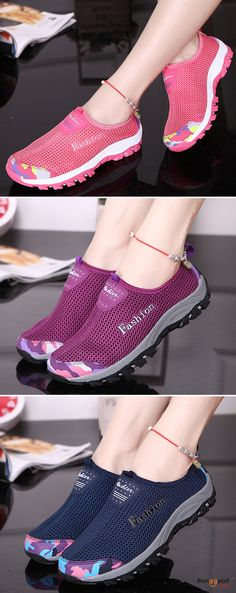 US$30.61 + Free shipping. Size: 5~9. Color: Purple, Dark Blue, Rose Red. Fall in love with casual and sport style! Women Soft Slip On Casual Sport Mesh Breathable Flat Shoes.