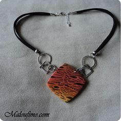 Jungle Pendant - Skinner blend, textured and inked.  Easy.~ Polymer Clay Tutorials