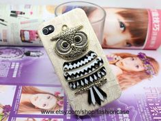 Retro Brass Owl iphone 4 case,iphone 4 cover,iphone case,iphone cover,to iphone cases 4,iphone C003