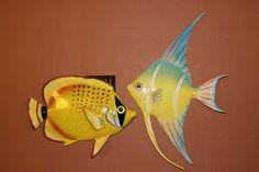"(2) 8"" TROPICAL FISH, BATHS, NAUTICAL DECOR, ISLAND DECOR, CORAL REEF, TIKI BAR"