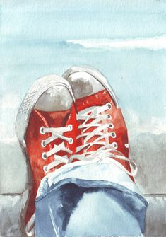 Original watercolor painting red converse blue denims by HelgaMcL http://etsy.me/RR6Ruy $20.00