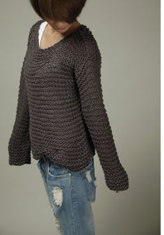 Handknit cotton sweater in Charcoal