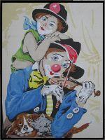 Tableau de sable : Clown violoniste www.facebook.com/ausablefin