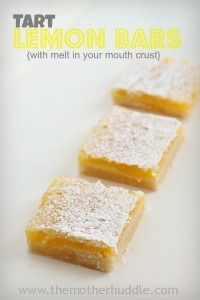 Tart Lemon Bars are perfect. If you love tart lemon flavor you NEED to make these delicious bars. Yummy Treats, Delicious Desserts, Sweet Treats, Yummy Food, Lemon Recipes, Sweet Recipes, Summer Recipes, Cookie Recipes, Dessert Recipes