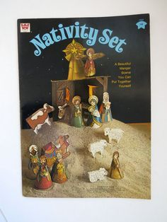 1973 Nativity Scene Joseph Mary Baby Jesus Wisemen Shepherd Cardboard Book NOS #Whitman