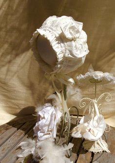 Baptism Lace Bonnet and Shoes Set by Elena