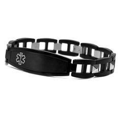 Black Men S Medical Id Bracelet From Www Stickyj Guy Bracelets Stainless
