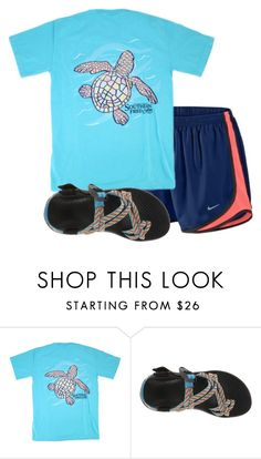 """First day of spring break☀️"" by ava-navarrrroo ❤ liked on Polyvore featuring NIKE and Chaco"
