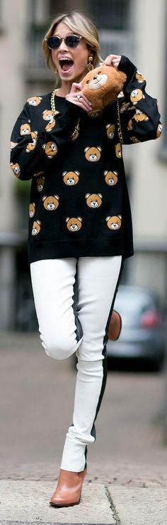 Milan Fashion Week street style: Helena Bordon wearing Moschino collection bear print sweater and purse