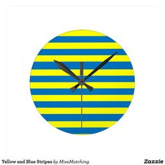 Yellow and Blue Stripes Round Clock