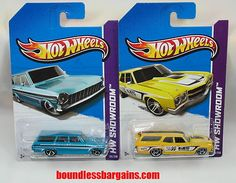 HOT WHEELS LOT OF 2 STATION WAGONS    2013 HW SHOWROOM    ADD THESE TO YOUR COLLECTION    1) 2013 HW SHOWROOM '64 TEAL CHEVY NOVA STATION WAGON    2) 2013 HW SHOWROOM '70 BRIGHT YELLOW MOONEYES CHEVELLE SS WAGON    THESE CARS ARE IN THEIR ORIGINAL PACKAGING AND AS YOU CAN SEE BY THE PHOTOS ARE IN GREAT CONDITION, $10.88