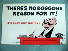 Vintage Office Comic Postcard Artist Signed Tony Roy There's No Doggone Reason
