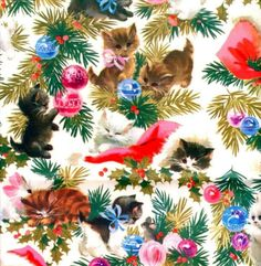 Vintage Christmas Gift Wrap White Kittens by GreenEyedGoat Vintage Christmas Wrapping Paper, Vintage Christmas Images, Christmas Gift Wrapping, Vintage Holiday, Noel Christmas, Christmas Paper, Retro Christmas, Christmas Cats, Image Chat