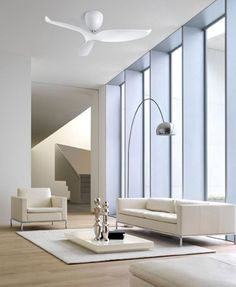This Aeratron Ceiling fan may just be the perfect addition to your modern styed living area with its architectural design. It looks incredible when combined with naturally toned décor. Modern Interior, Interior Styling, Interior Architecture, Interior Decorating, Interior Design, Decorating Ideas, Dc Ceiling Fan, Ceiling Fan With Remote, Home