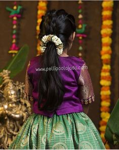 Kids Hairstyles For Wedding, South Indian Wedding Hairstyles, Braided Hairstyles For Wedding, Little Girl Hairstyles, Elegant Hairstyles, Indian Hairstyles, Bride Hairstyles, Traditional Hairstyle, Hair Videos