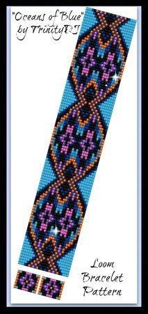 BP-LOOM-043 - 2015 - 51 - Oceans of Blue - Loom or Square Stitch Bracelet Pattern - In The Raw - one of a kind Ethnic tutorial