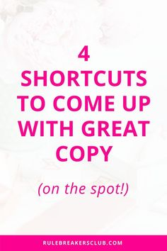 Great tricks for coming up with great copy that your audience will love!