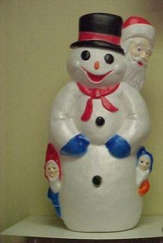 Vintage Christmas Blow Mold ~ Snowman  w/ Santa & Elves by Union Products