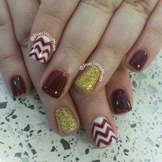Maroon and gold ASU chevron nails