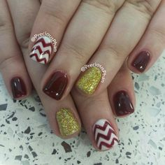 Maroon and gold ASU chevron nails