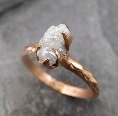 Raw Diamond Solitaire Engagement Ring Rough rose by byAngeline Raw Diamond Engagement Rings, Diamond Stacking Rings, Diamond Wedding Sets, Wedding Rings Solitaire, Wedding Rings Rose Gold, Diamond Solitaire Rings, Rough Diamond, Nontraditional Engagement Rings, Gold Wedding