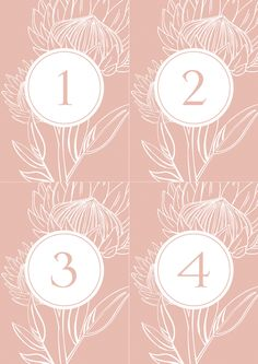 These printable table numbers are part of the Perfect Protea collection. Protea pattern play on dusty pink and white and complementary grey fonts combine to bring a touch of pretty flora to your day.