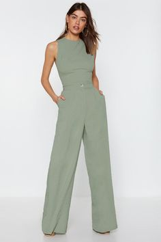 Mint High Waisted and Wide Leg Pants Costume Vert, Jumpsuit Outfit, Wide Leg Trousers, Nice Dresses, Fashion Outfits, Clothes, Nasty Gal, High Waisted Dress Pants, Flowy Pants