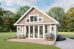 House Plan 1462-00015 - Cottage Plan: 751 Square Feet, 1 Bedroom, 1 Bathroom Micro House Plans, Guest House Plans, Small Cottage House Plans, Small Cottage Homes, Small House Floor Plans, Cottage Floor Plans, Lake House Plans, Basement House Plans, Small Cottages