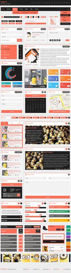 Flatty UI Kit Free PSD by Mahmoud Baghagho, via Behance