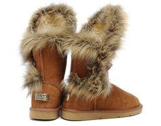 ugg fox fur boots 5531 in chestnut    www.sheepskinsnowboots4u.com