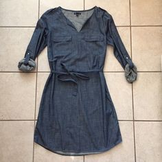 Gap shirt dress. Gap polka dot shirt dress. Tall Fit Guide. Lightweight, non stretch premium fabric. Split neckline. Long sleeves. Patch pockets at front. Tie belt at waist. Relaxed, easy fit. Hits above the knee. Was worn 2 times, great condition: no wear or tear. GAP Dresses Midi