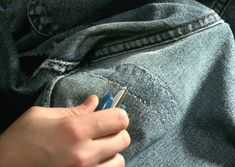 fix holes in jeans Holey Jeans, Patched Jeans, My Jeans, Denim, How To Patch Jeans, Costume Patterns, Sewing Hacks, Sewing Tips, Useful Life Hacks