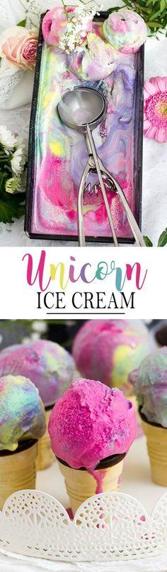 4 Ingredient Unicorn Ice Cream Recipe, perfect for unicorn themed party! Glace Unicorn, Unicorn Ice Cream, Sweet Recipes, Cake Recipes, Dessert Recipes, Frozen Desserts, Frozen Treats, Summer Desserts, Summer Recipes