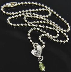 """Amy Peters Sterling Silver Peridot Spiral Heart Charm Pendant Chain Necklace 16"""""""