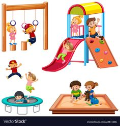 Set of children playing playground equipment Vector Image Art Drawings For Kids, Drawing For Kids, Flashcards For Kids, Kids Background, School Clipart, Fathers Day Crafts, Card Reading, Art Design, Teacup Pigs
