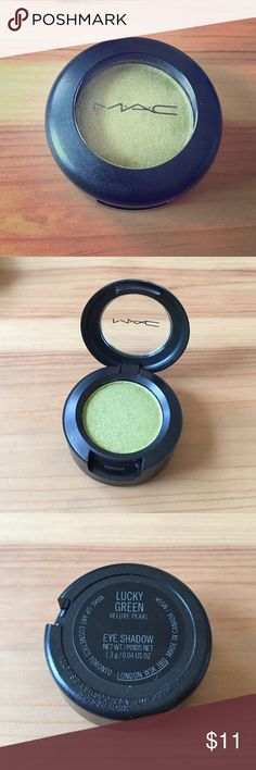 MAC cosmetics eye shadow in LUCKY GREEN Brand new (no box) MAC Cosmetics in gorgeous LUCKY GREEN Veluxe Pearl color. Full size 1.3g/0.04oz MAC Cosmetics Makeup Eyeshadow