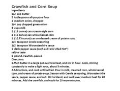 Jim Bob and Mae Recipe of the Day    Crawfish and Corn Soup   http://www.dailyrecipedoctor.com