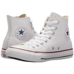Converse Chuck Taylor(r) All Star(r) Leather Hi (White Leather)... ($65) ❤ liked on Polyvore featuring shoes, treads shoes, cap toe shoes, patterned shoes, lace up shoes and laced up shoes