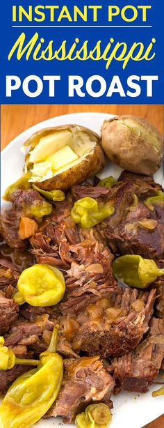 Instant Pot Mississippi Pot Roast is a classic pot roast made in the electric pressure cooker. With ranch, au jus, butter, and pepperoncinis for amazing, rich flavor. simplyhappyfoodie.com #instantpotrecipes #instantpotpotroast #instantpotmississippipotroast #mississippipotroast #pressurecookerpotroast