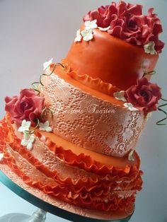 mona - My orange lace and ruffle cake