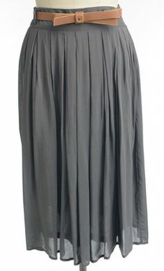 Womens modest vintage pleated midi length skirt with added belt. Apostolic Clothing Co.